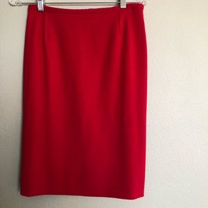 Armani Collezioni Red Wool Lined Pencil Skirt SZ 6